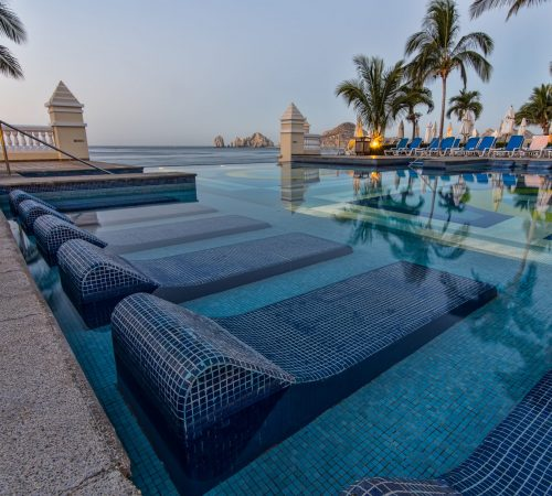 This is the swimming pool at the resort we stayed at in Cabo San Lucas, not a bad place to relax on a hot day.
